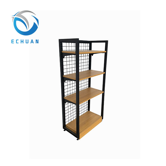 Supermarket Shelf Accessories Convenience Store Display Shelving Systems Mini Market Rack Wood Gondola Shelves No.ECHX01WI