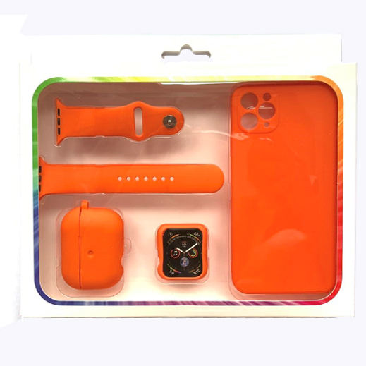 Hot Selling 4 in 1 set with Gift Box Packing Soft Silicone Watch Face case+Phone Case+Earphone Case For apple watch band