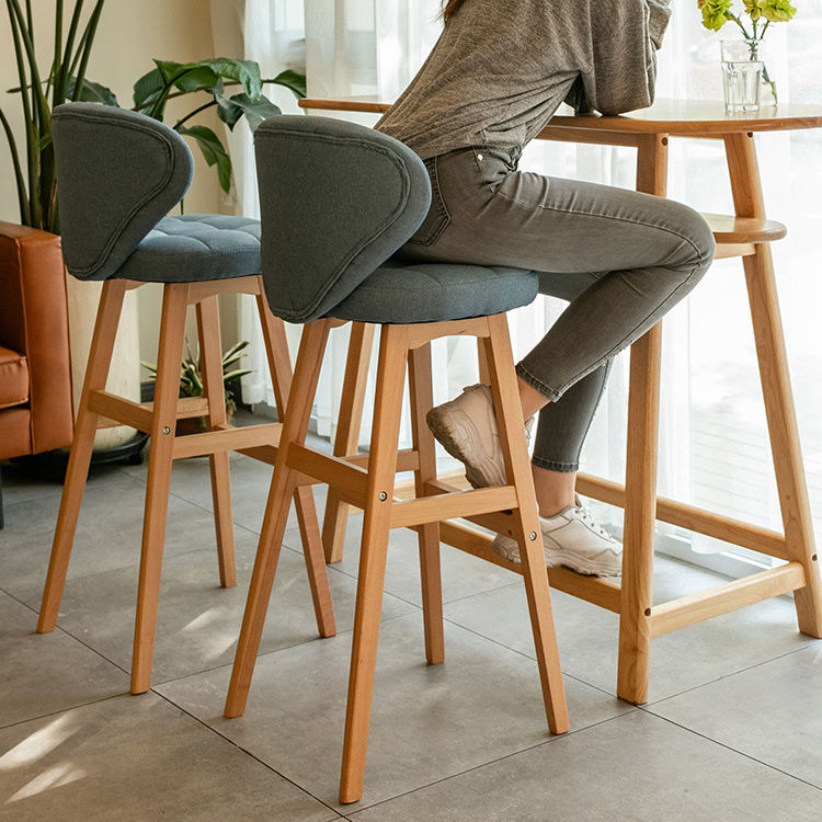 Bar Chair Nordic Rustic Classic High Kitchen Counter Stool Modern Wooden Fabric Leather PU Bar Chair
