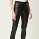 Black Skinny Sexy Soft High Waist Shape Artificial Leather Leggings Chaparajos Trousers