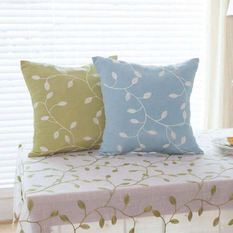 Blue Green Leaves Embroidered Cotton Cushion Cover Pastoral Style Throw Decorative Cushion Cover 45cm*45cm with your own design
