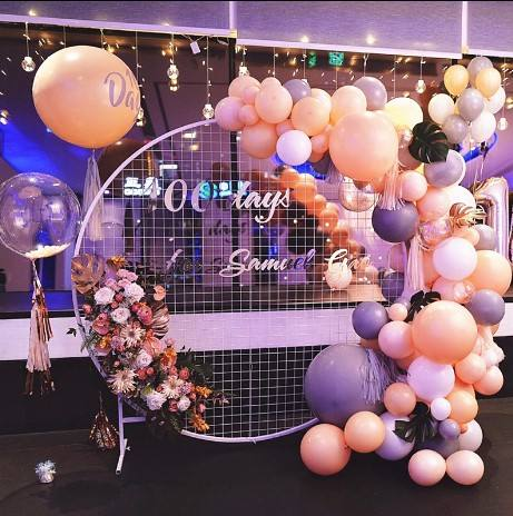 Moderne hot party wedding decor achtergrond display stand mesh metalen cirkel voor event met ballon