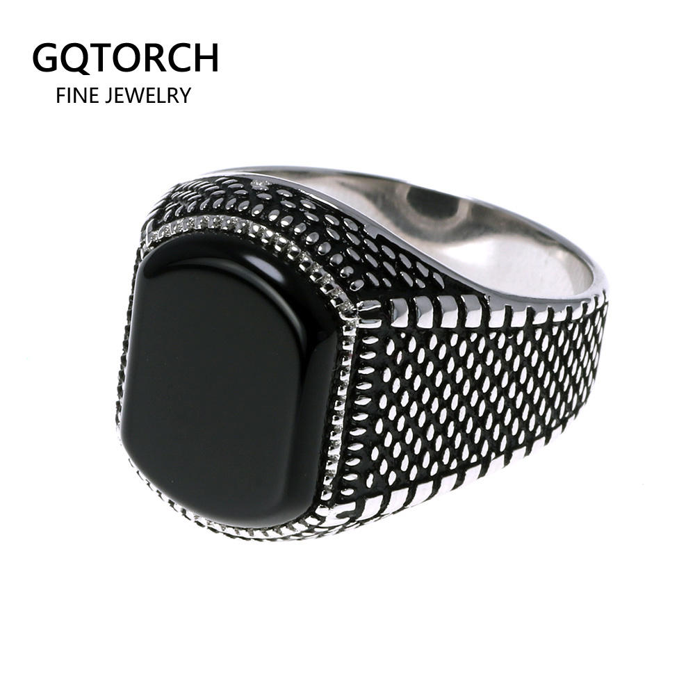 Turkish Jewelry Black Ring Men Light-weight 6g Real 925 Sterling Silver Mens Rings Natural Onyx Stone Vintage Cool Fashion