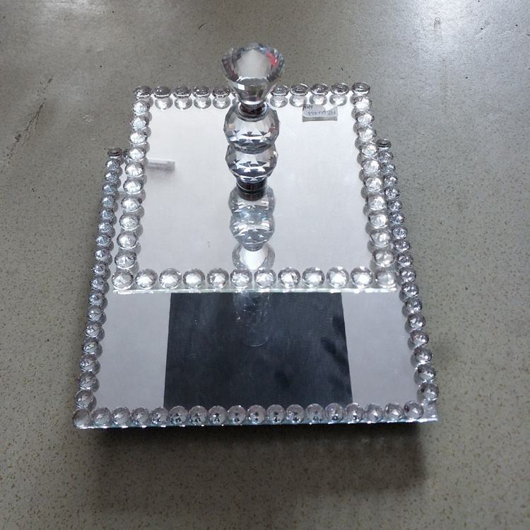 Wedding Party Kitchen 2 Tier Silver Diamond Crushed Square Glass Cake Stand Wholesale Cake Display Tray Glass Cake Stand