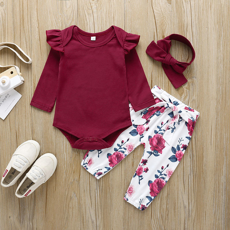 2020 new baby spring and autumn long-sleeved cotton suit printed female baby jumpsuit trousers 3-piece set