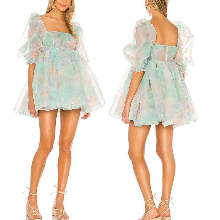 High Quality Cheap Price Custom Floral Printing Organza Puff sleeves Cute Beautiful Girls Mini Dresses Women Apparel