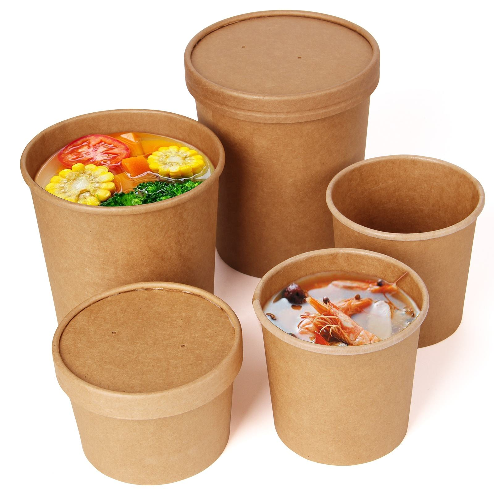 Custom printed disposable take away hot soup bowls, kraft paper soup cup with paper Lid