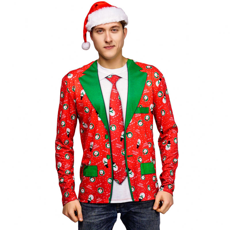 Top Selling Christmas Carnival Party Cosplay Costumes Casual Christmas Santa T-shirt For Men