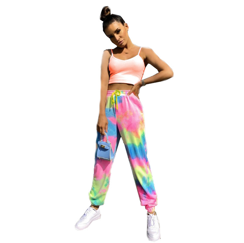 2020 Colorful tie dye full printing pants high street style tie dye track pants for women