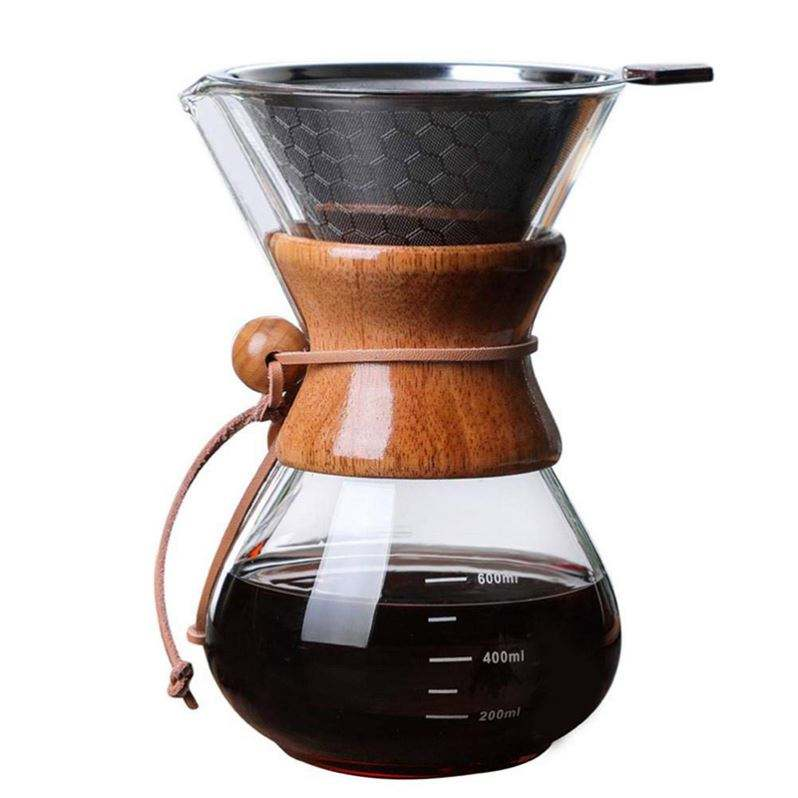 Borosilicate Clear Pyrex Glass Coffee Pot 800ml Pour Over Brew V60 Barista Hand Drip Coffee Maker