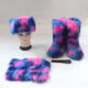 Snow Boots Women Wholesale Colorful Faux And Real Fluffy Big Long Tall Fox Fur Snow Boots Sets Matching With Purse Bags Headband For Ladies Women