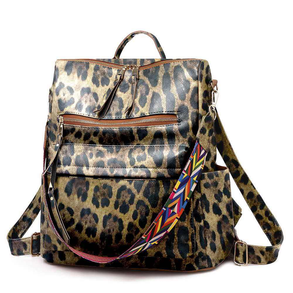 Wholesale Floral and and Cheetah Leather Backpack Women Students School Bags Large Backpacks Multifunction Travel Bags
