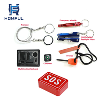 HOMFUL Portable Camping Emergency Tin Kit SOS Emergency Survival Kit for Adventures