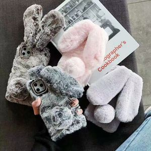 3D Rabbit Cute for iPhone Case Fur 11 Pro Max Flurry for Girls 11 Xs Max X Winter Furry Plush Soft Warm 7 8 6 Mobile Phone Cover