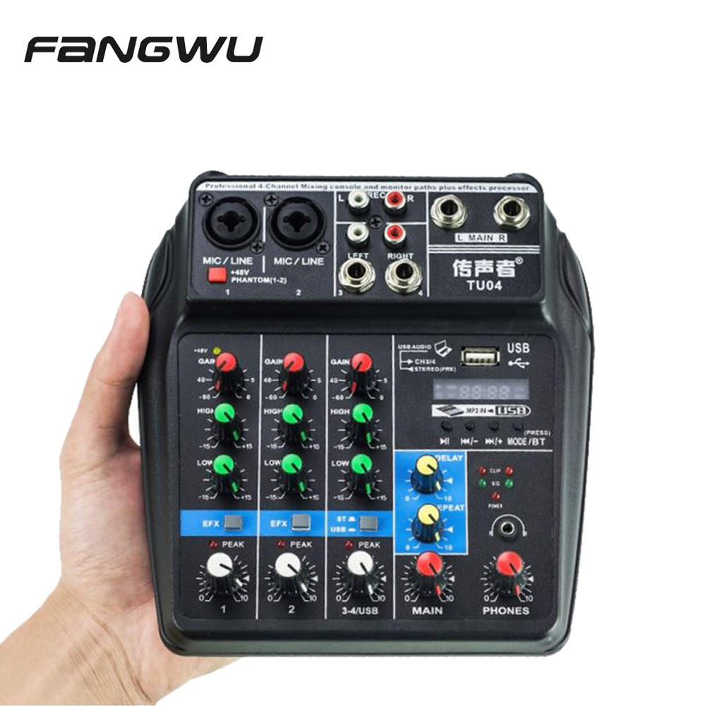 2020 Newest Mini 4 Channel USB Audio Mixer Console