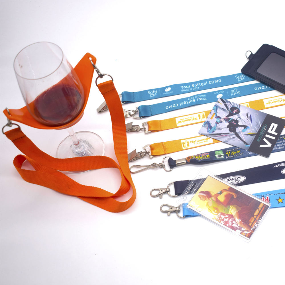 Double Safety 2 Lanyards Harness Full Body Harnes Cup Holder Lanyard For Wine Wire Lanyard. Glasses