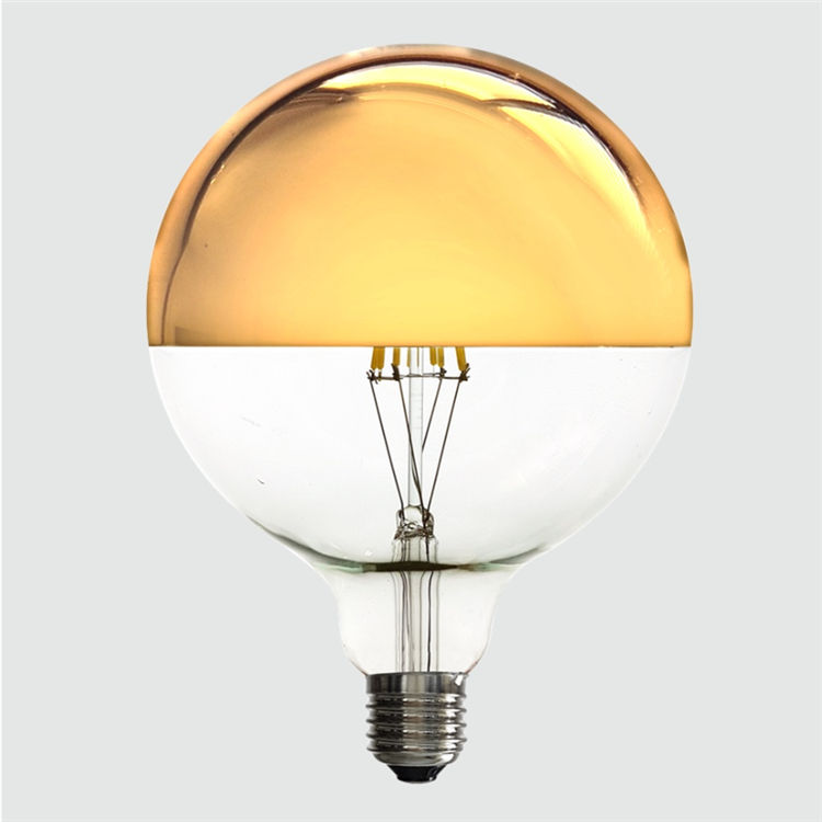 New Energy Efficient LED Light Globe Bulb Crown Mirror Gold Bowl G125 LED Filament Lamp