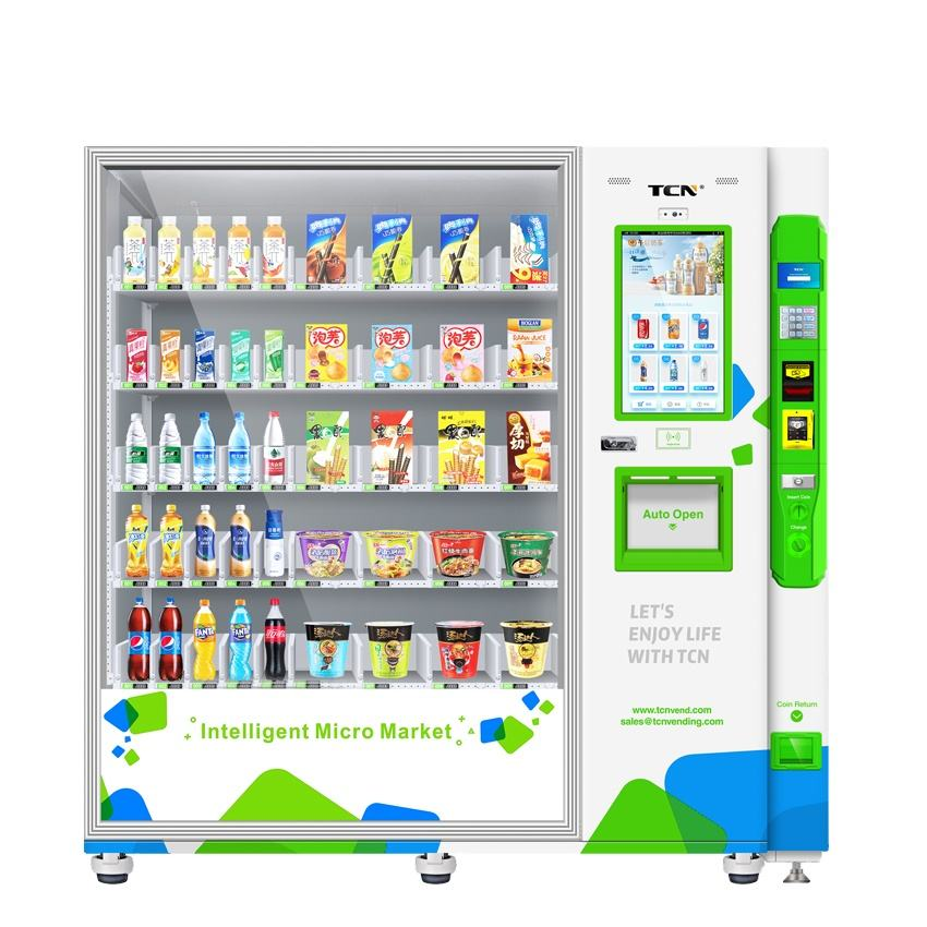TCN beauty products amusement vending machines automatic beverage beer box snack vending machine mumbai with robot arm