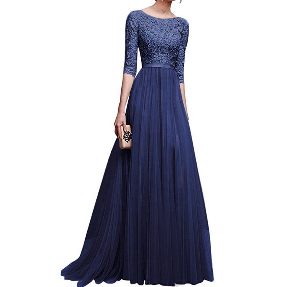 Womens Long Bridesmaids Wedding Dress Half Sleeve Elegant Lace Round Neck Maxi Ladies Evening Party Dresses