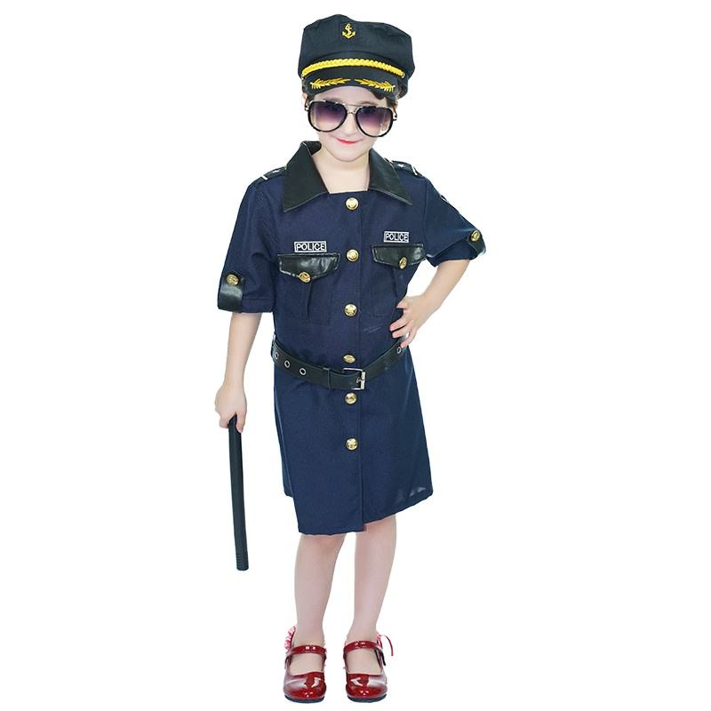 New Design Girl's Police Suit Halloween Party Cos Costume Carnival Cool Police Costume For Kids