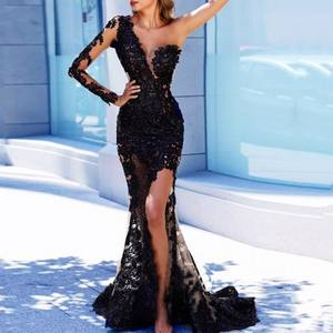 EV020 Black Arabian Mermaid Long Evening Dresses Full Sleeves Appliques Evening Party Gowns One Shoulder Sexy Robe De Soiree