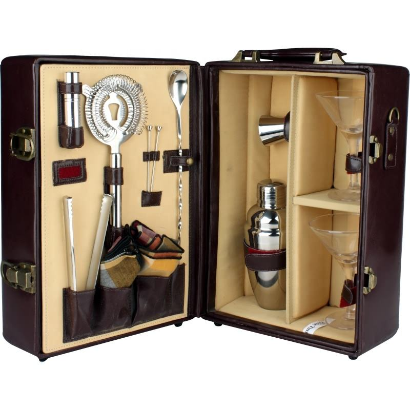 wooden box stainless steel wine accessories cocktail bar set for bar