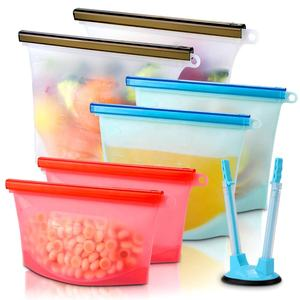 Silicone Food Storage Bag Reusable Food Grade Leakproof Vacuum Cold Ziplock Silicone Food Storage Bag