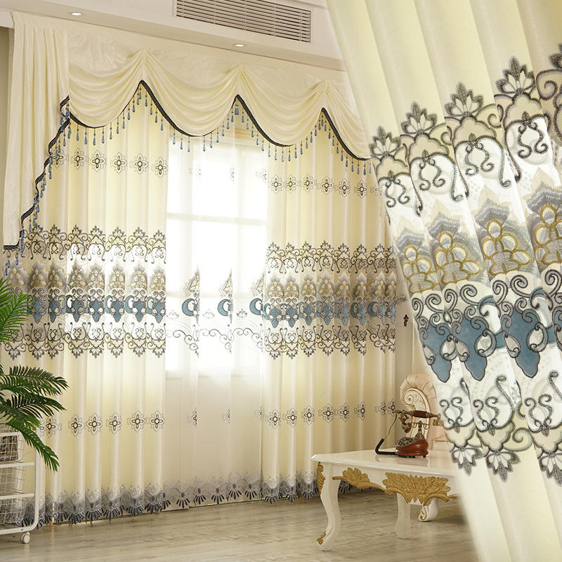 Long cheap hot sell wholesale luxury embroidery floral sheer home room window curtain set living room bedroom door curtain
