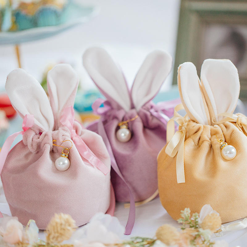 Wedding Candy Bag With Rabbit Ears Jewelry Packaging Bags Candy Cooikes Gift Bags Party Supplies