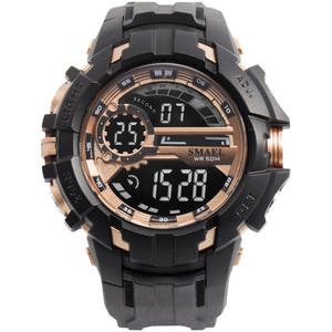 Smael 1610-G HD Mirror 5ATM Rose Gold Electronic Shock Resistant Digital Watches