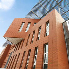 Natural clay colored terracotta wall panel for facade cladding
