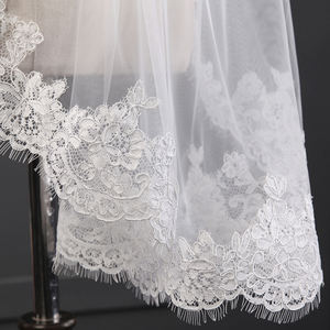 New Short Elbow Length Lace Wedding Veils Bridal 2 Layers Bridal Veil with Comb (White/Ivory)
