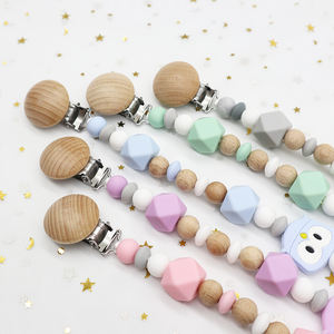 ecofriendly baby dummy chain teether holder silicone feeding teething ring letter crochet bead wood pacifier clip