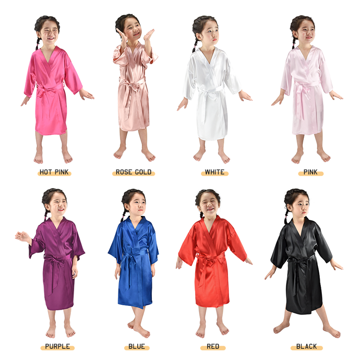 Wholesale Cute Girls Kids Spa Silk Satin Robe