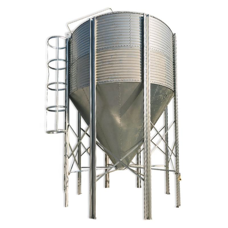 10-3000T Hot Galvanized Steel Silo with Cone Bottom for animals food broiler house feeding drinking line chicken raising breede