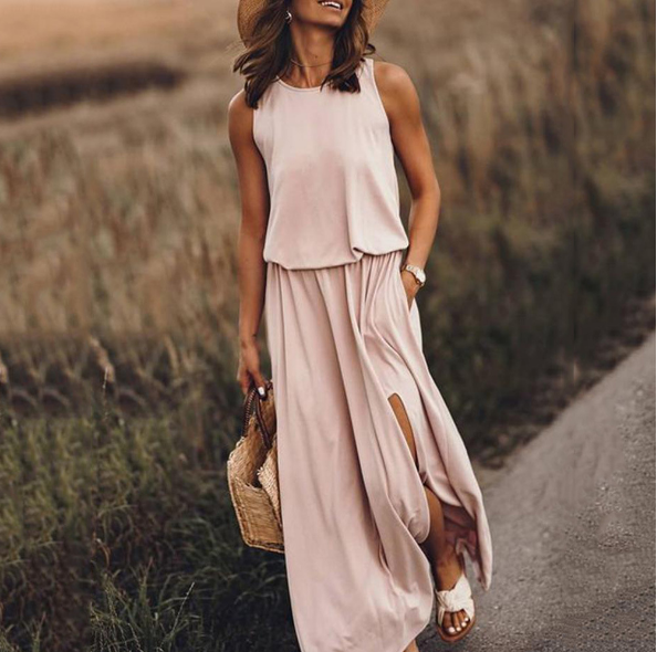 Hot sale round neck sleeveless split solid color women's long sexy casual dresses summer
