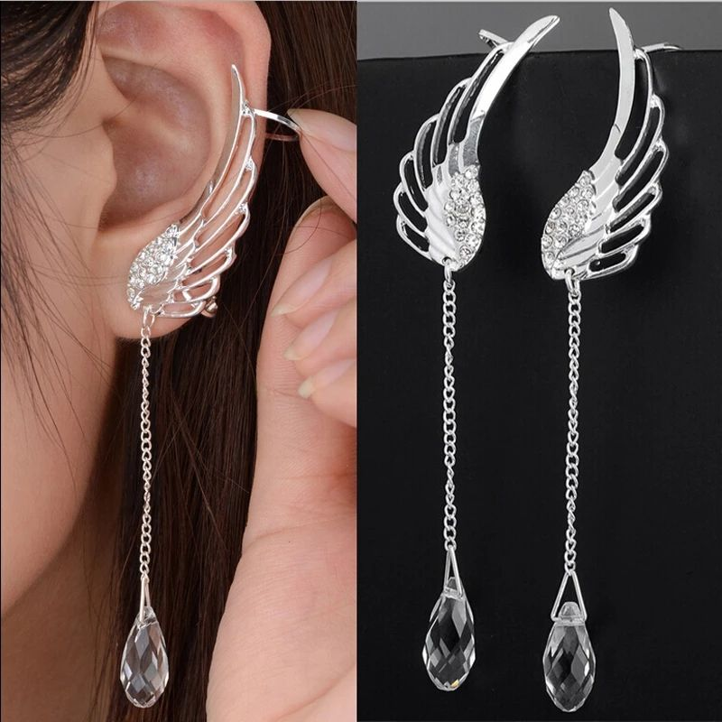 20120 Nieuwe Verzilverd Angel Wing Crystal <span class=keywords><strong>Oorbellen</strong></span> Drop Dangle Ear <span class=keywords><strong>Stud</strong></span> Voor Vrouwen Lange Manchet Oorbel Bohemen Jewelrys