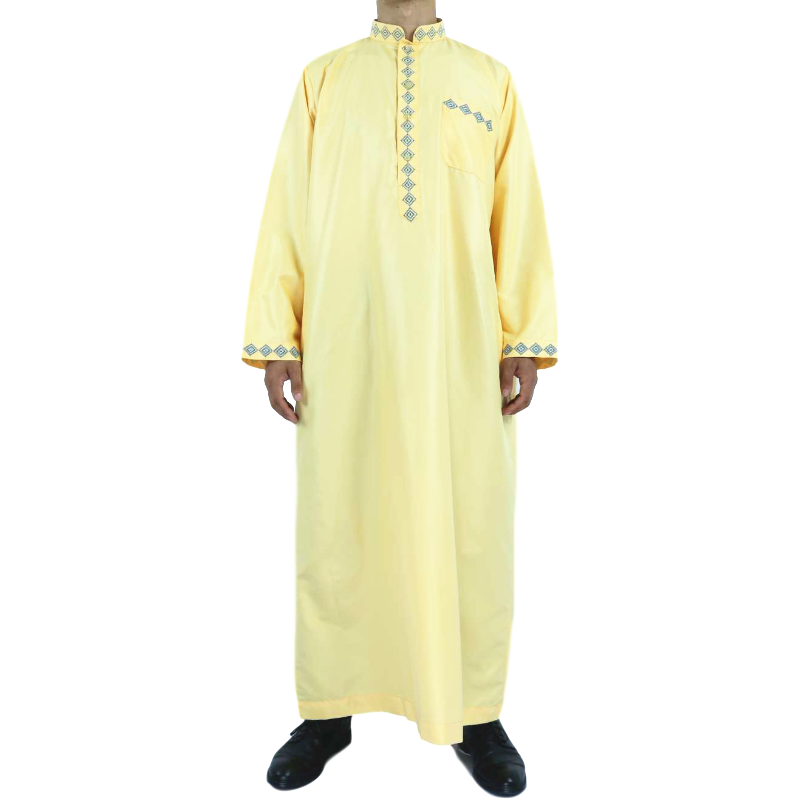 AL SAFA Design Africa Men's Qatar Style Thobe With Stand Collar For Islamic Men's Clothing