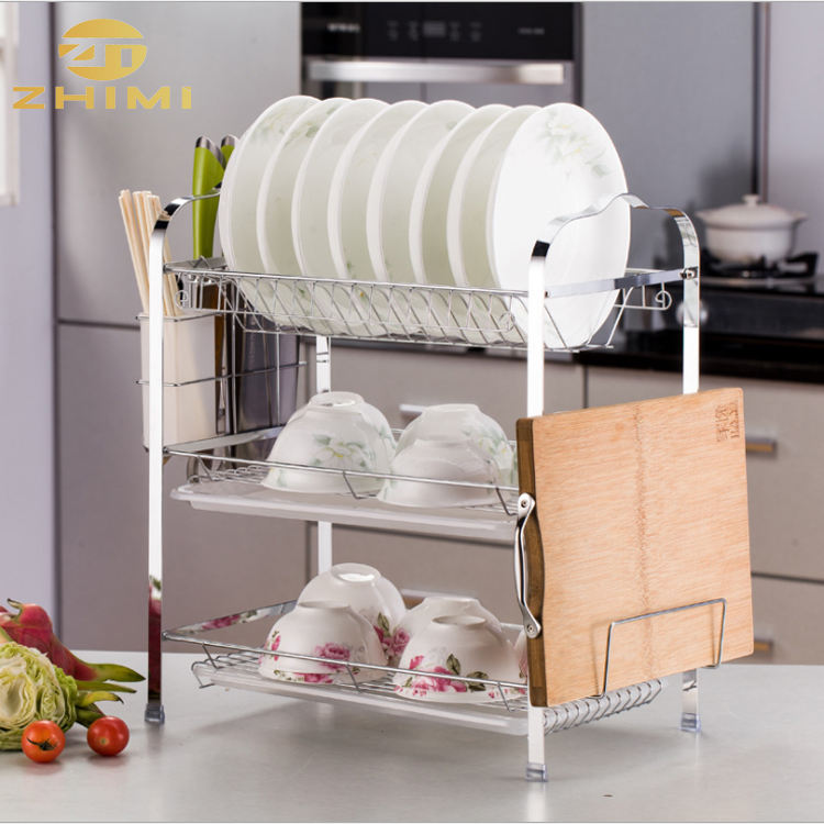 Iron Home Kitchen Dish Drainers Plate Rack with Drainboard Utensil Holder Shelf