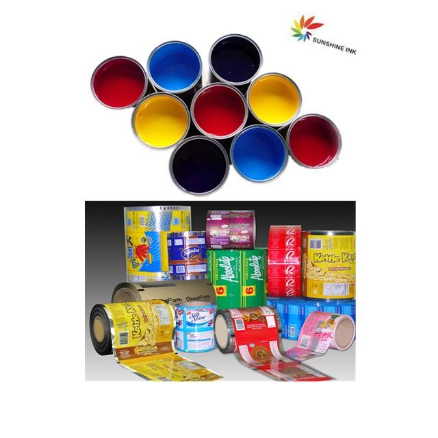 Solvent based surface printing ink for flexo stack