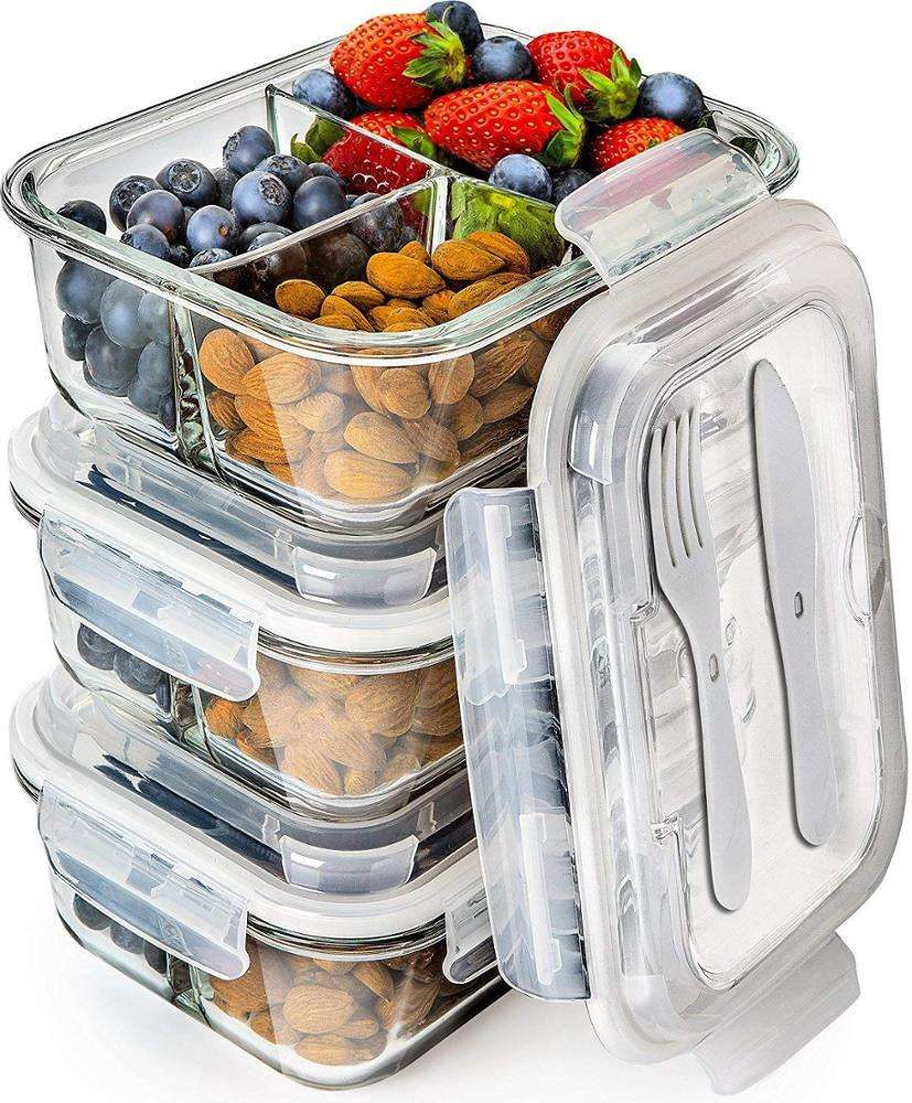 Dishwasher and Microwave Safe 3 Compartment Glass Food Storage Containers with Lid Set Food Container Glass Food Container Set