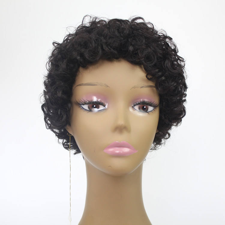 Wholesale Cheap 100% Human Hair Football Sports Fan Wig for Men and Women Afro Curly Short Party Wig Indian Brazilian Hair