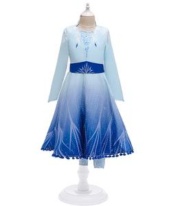 2019 New Design Frozen 2 Elsa Dress Little Girl Costumes Fordisney Princess Cosplay BX1655