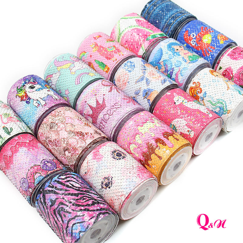 Fashion Wholesale Multi Pattern DIY Decoration Fabric Trim Sparkle Cheer Sequin Reversible Ribbon For Hair Accessories