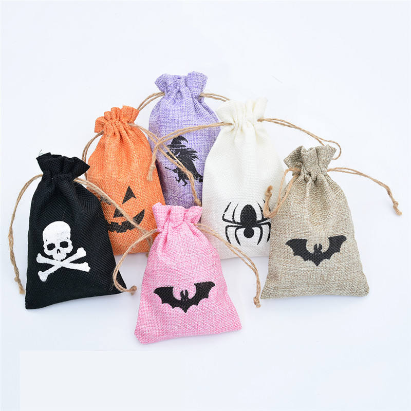 6 Colors Halloween Candy Bag Printing Skeleton and Pumpkin Candy Bags For Halloween