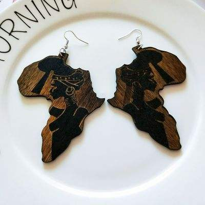 Women Vintage Fashion Brown Wood Africa Map Earring Wooden Tribal Engraved Tropical Earrings Jewelry Accessory