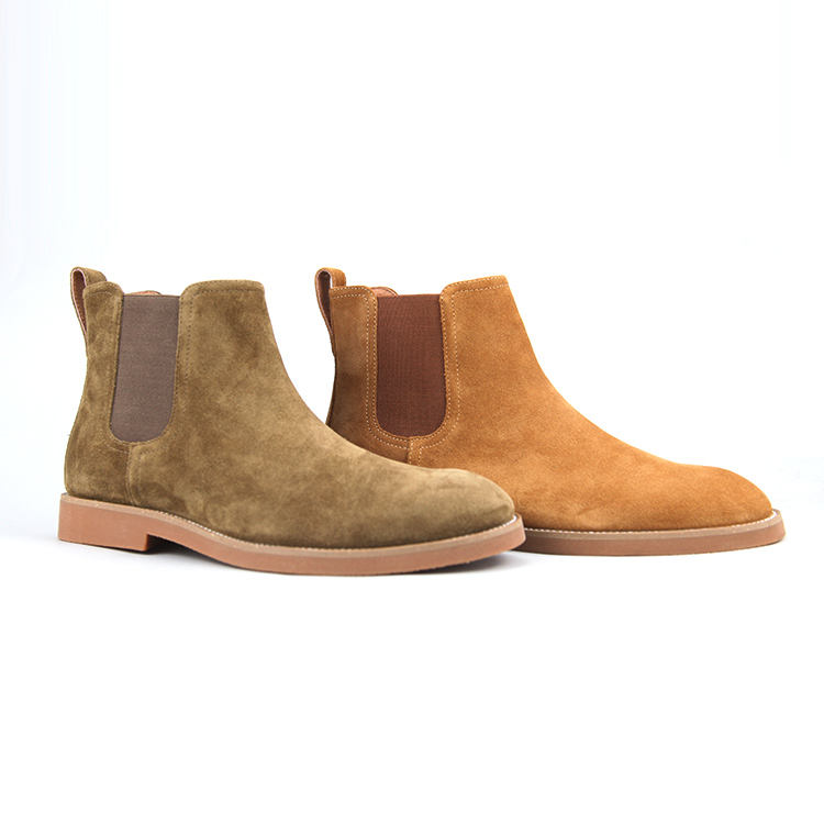 Mens Leather Chelsea Boots & Chukka Boots Waterproof Suede Leather Ankle Slip On Shoes