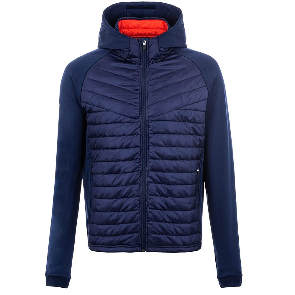fleece contrast quilted puffer jacket mens patchwork padded jackets coat
