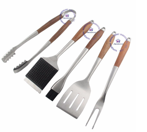 5 pcs rosewood handle BBQ tool set barbeque spatula turner grilling fork basting brush cleaning tong hollow stainless steel