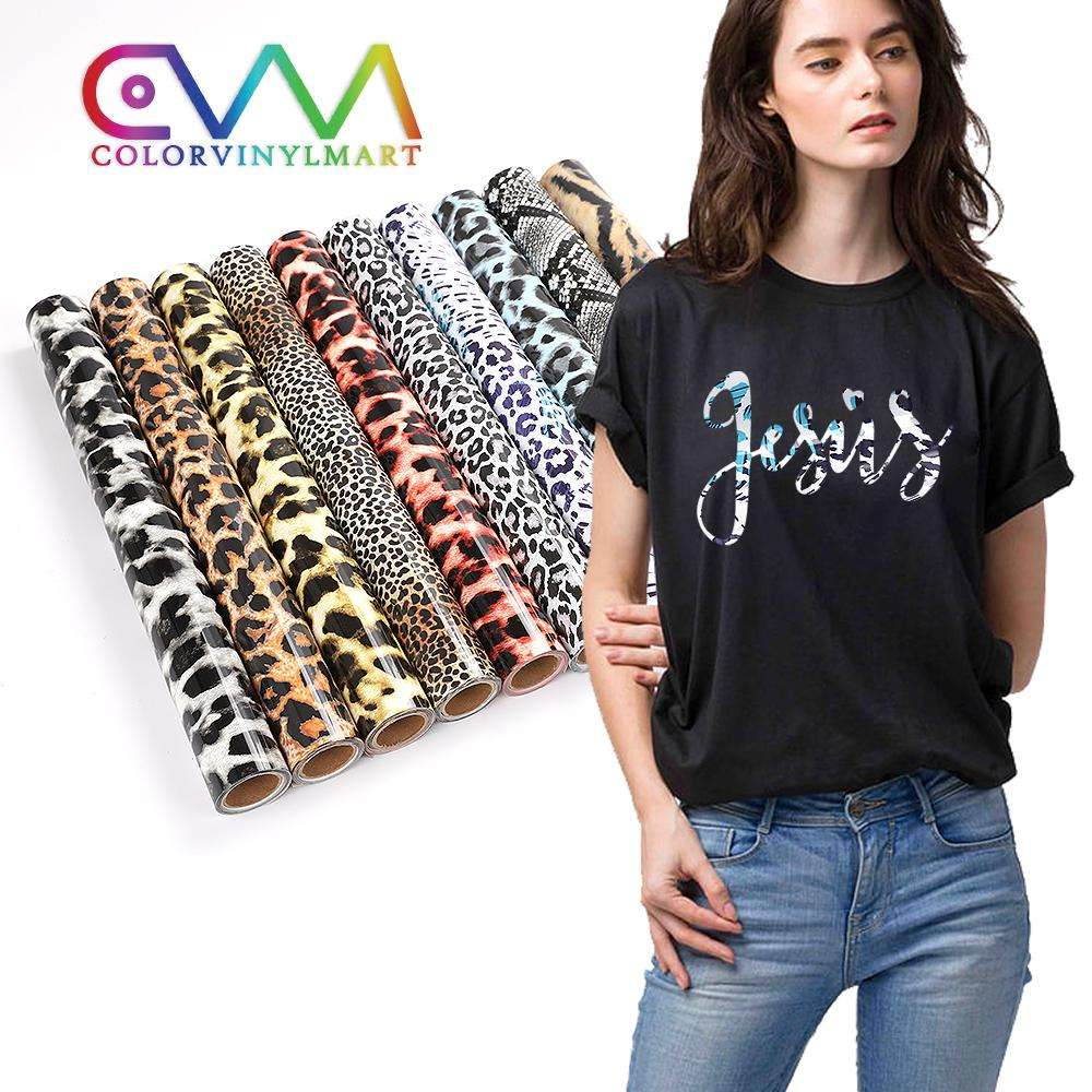 Hot Sale New Product Easy To Weed Htv Pvc Film Camouflage Leopard Print Heat Transfer Vinyl Rolls For Textile clothing Tshirt